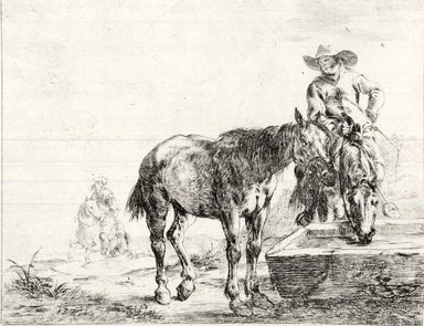 Dirk Stoop (Dutch, 1610-1686). <em>Two Horses at a Trough</em>, 1651. Etching, Sheet: 6 5/16 x 8 1/16 in. (16 x 20.5 cm). Brooklyn Museum, Gift of Mrs. Algernon Sydney Sullivan and George H. Sullivan, 19.184.8 (Photo: Brooklyn Museum, CUR.19.184.8.jpg)