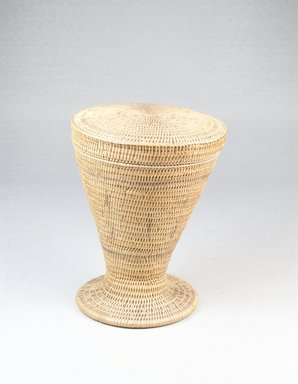 Tutsi. <em>Basket and Lid</em>, late 19th century. Vegetal fiber, 5 × 4 1/8 in. (12.7 × 10.5 cm). Brooklyn Museum, 1912a-b. Creative Commons-BY (Photo: Brooklyn Museum, CUR.1912_front_PS5.jpg)