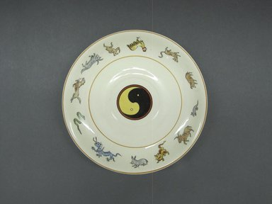 Genevive Wimsatt (American, active 2nd quarter 20th century). <em>Tea Cup and Saucer</em>, patented June 19,1928. Glazed earthenware, Tea cup and saucer: 2 3/8 x 5 13/16 in. (6 x 14.8 cm). Brooklyn Museum, Gift of Joseph V. Garry, 1989.106.8a-b. Creative Commons-BY (Photo: Brooklyn Museum, CUR.1989.106.8b_view1.jpg)