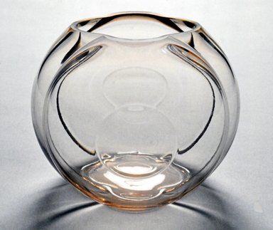 George Sakier (American, 1897-1988). <em>Vase</em>, ca. 1930. Lead glass, 5 3/4 x 7 x 7 in. Brooklyn Museum, H. Randolph Lever Fund, 1989.115. Creative Commons-BY (Photo: Brooklyn Museum, CUR.1989.115.jpg)