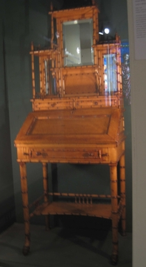 R.J. Horner & Company (1886-1915). <em>Lady's Writing Desk</em>, late 19th century. bird's-eye maple, silvered glass, leather, 69 3/4 x 27 x 18 in. Brooklyn Museum, Alfred T. and Caroline S. Zoebisch Fund, 1989.158. Creative Commons-BY (Photo: , CUR.1989.158.jpg)