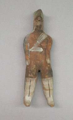 <em>Standing Figure</em>, 20th century. Ceramic, pigment, 3 x 1 1/2 x 1/2 in. (7.6 x 3.8 x 1.3 cm). Brooklyn Museum, The Adolph and Esther D. Gottlieb Collection, 1989.51.73. Creative Commons-BY (Photo: Brooklyn Museum, CUR.1989.51.73_front.jpg)