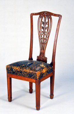 Henry H. Richardson (1836-1886). <em>Side Chair</em>, ca. 1885. Mahogany, original leather upholstery, 46 x 20 x 18 in. (116.8 x 50.8 x 45.7 cm). Brooklyn Museum, Gift of Isabel Shults, by exchange, 1989.68. Creative Commons-BY (Photo: Brooklyn Museum, CUR.1989.68.jpg)