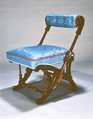 George Jacob Hunzinger (American, born Germany, 1835-1898). <em>Side Chair</em>, Patented March 30, 1869. Walnut, modern upholstery, 28 1/4 x 20 3/4 x 23 in. (71.8 x 52.7 x 58.4 cm). Brooklyn Museum, Gift of Isabel Shults, by exchange, 1989.74. Creative Commons-BY (Photo: Brooklyn Museum, CUR.1989.74.jpg)