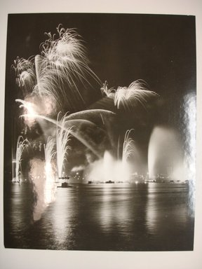 John Albok (American, born Hungary, 1894-1982). <em>Fireworks at the Lagoon of Nations (Hungarian-American Day)</em>, August 18, 1940. Photograph dry mounted, sheet: 9 11/16 x 7 3/4 in. (24.6 x 19.7 cm). Brooklyn Museum, Gift of Ilona Albok Vitarius, 1990.122.6. © artist or artist's estate (Photo: Brooklyn Museum, CUR.1990.122.6.jpg)