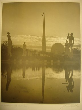 John Albok (American, born Hungary, 1894-1982). <em>Freedom Square (World's Fair)</em>, 1938. Gold toned gelatin silver photograph, image: 13 1/2 x 10 1/2 in. (34.3 x 26.7 cm). Brooklyn Museum, Gift of Ilona Albok Vitarius, 1990.122.7. © artist or artist's estate (Photo: Brooklyn Museum, CUR.1990.122.7.jpg)