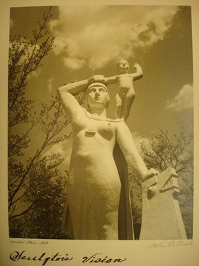John Albok (American, born Hungary, 1894-1982). <em>Sculptor's Vision, World's Fair 1939</em>, 1939. Gold toned gelatin silver photograph, image: 13 1/2 x 10 1/2 in. (34.3 x 26.7 cm). Brooklyn Museum, Gift of Ilona Albok Vitarius, 1990.122.9. © artist or artist's estate (Photo: Brooklyn Museum, CUR.1990.122.9.jpg)