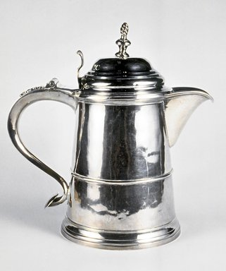 Samuel Minott (1732-1803). <em>Tankard</em>, ca. 1755. Silver, 9 x 9 x 5 5/16 in.  (22.9 x 22.9 x 13.5 cm) weight - 879.8gm (28.38oz.). Brooklyn Museum, Gift of Wunsch Foundation, Inc., 1990.155.1. Creative Commons-BY (Photo: Brooklyn Museum, CUR.1990.155.1.jpg)