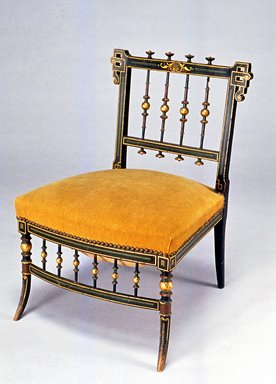 Unknown. <em>Slipper Chair</em>, ca. 1880. Ebonized wood with gilt and polychrome decoration, 25 7/8 x 18 3/8 x 18 3/4 in. Brooklyn Museum, Maria L. Emmons Fund, 1990.157.2. Creative Commons-BY (Photo: Brooklyn Museum, CUR.1990.157.2_view1.jpg)