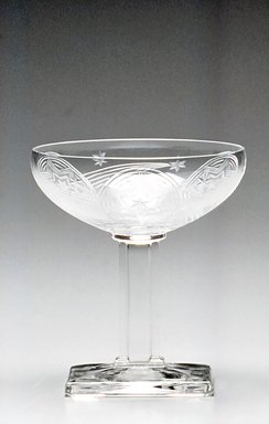A.H. Heisey & Company (1896-1957). <em>Champagne Glass</em>, ca. 1930. Glass, 6 3/8 x 2 13/16 x 2 3/4in. (16.2 x 7.1 x 7cm). Brooklyn Museum, Gift of Jacques Caussin, 1990.188.1. Creative Commons-BY (Photo: Brooklyn Museum, CUR.1990.188.1.jpg)