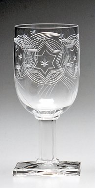 A.H. Heisey & Company (1896-1957). <em>Water Glass</em>, ca. 1930. Glass, 4 5/8 x 4 1/8 x 4 1/8 in. Brooklyn Museum, Gift of Jacques Caussin, 1990.188.2. Creative Commons-BY (Photo: Brooklyn Museum, CUR.1990.188.2.jpg)
