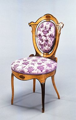 Unknown. <em>Side Chair</em>, ca. 1855-1860. Stained laminated wood, rosewood, wool upholstery, 33 3/4 x 17 1/2 x 20 in.  (85.7 x 44.5 x 50.8 cm). Brooklyn Museum, Alfred T. and Caroline S. Zoebisch Fund, 1990.197. Creative Commons-BY (Photo: Brooklyn Museum, CUR.1990.197_view1.jpg)