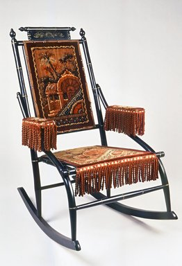 D. Dexter's Sons. <em>Rocking Chair</em>, patented May 18, 1880. Ebonized wood, gilt decoration, cast iron, original upholstery, 38 x 23 1/2 x 32 in.  (96.5 x 59.7 x 81.3 cm). Brooklyn Museum, H. Randolph Lever Fund, 1990.201. Creative Commons-BY (Photo: Brooklyn Museum, CUR.1990.201.jpg)