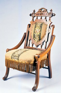 Edward W. Vaill (1861-1891). <em>Folding Armchair (reception) (Renaissance Revival style)</em>, ca. 1875. Walnut, gilt decoration, original upholstery, 36 3/4 x 21 3/4 x 23 in.  (93.3 x 55.2 x 58.4 cm). Brooklyn Museum, Maria L. Emmons Fund, 1990.203. Creative Commons-BY (Photo: Brooklyn Museum, CUR.1990.203.jpg)