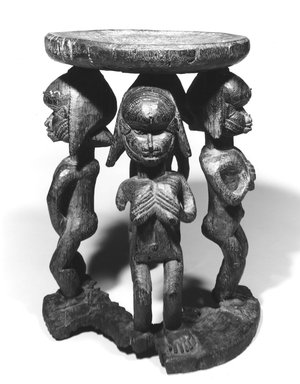 Baga. <em>Caryatid Stool</em>, 19th century. Wood, iron pegs, 16 x 12 in. (40.6 x 30.5 cm). Brooklyn Museum, Gift of Corice and Armand P. Arman, 1990.219. Creative Commons-BY (Photo: Brooklyn Museum, CUR.1990.219_print_bw.jpg)