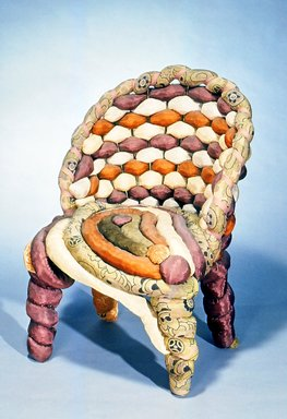and Upholsterer Yves Marthelot (French, born 1949). <em>Side Chair</em>, ca. 1985. Fabric, metal frame, 30 3/4 x 23 x 20 in.  (78.1 x 58.4 x 50.8 cm). Brooklyn Museum, Gift of Mr. and Mrs. Bruce M. Newman, 1990.230.1. Creative Commons-BY (Photo: Brooklyn Museum, CUR.1990.230.1.jpg)