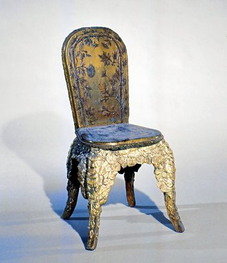 <em>Side Chair</em>, ca. 1880. Wood, silver leaf, polychrome, 34 1/4 x 18 1/2 x 17 1/2 in.  (87 x 47 x 44.5 cm). Brooklyn Museum, Gift of Mr. and Mrs. Bruce M. Newman, 1990.230.10. Creative Commons-BY (Photo: Brooklyn Museum, CUR.1990.230.10.jpg)