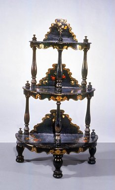 <em>Etagere</em>, ca. 1850. Wood, Papier Mache, Mother-of-pearl, 43 x 25 1/2 x 14 in. (109.2 x 64.8 x 35.6 cm). Brooklyn Museum, Gift of Mr. and Mrs. Bruce M. Newman, 1990.230.14. Creative Commons-BY (Photo: Brooklyn Museum, CUR.1990.230.14.jpg)