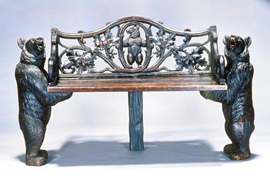 Trauffer (attributed to a member of the family). <em>Bench</em>, ca. 1895. Wood, glass, 33 x 54 1/2 x 17 in.  (83.8 x 138.4 x 43.2 cm). Brooklyn Museum, Gift of Mr. and Mrs. Bruce M. Newman, 1990.230.3. Creative Commons-BY (Photo: Brooklyn Museum, CUR.1990.230.3.jpg)