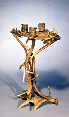 <em>Smoking Stand</em>, ca. 1890. Deer antlers, 30 1/2 x 18 x 14 in.  (77.5 x 45.7 x 35.6 cm). Brooklyn Museum, Gift of Mr. and Mrs. Bruce M. Newman, 1990.230.4. Creative Commons-BY (Photo: Brooklyn Museum, CUR.1990.230.4.jpg)