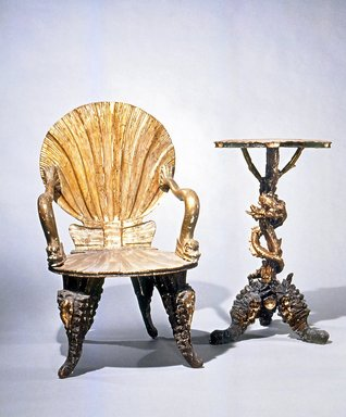 Pauley et Cie. <em>Armchair</em>, late 19th or early 20th century. Wood, silver leaf, 39 x 24 x 25 in.  (99.1 x 61 x 63.5 cm). Brooklyn Museum, Gift of Mr. and Mrs. Bruce M. Newman, 1990.230.6. Creative Commons-BY (Photo: , CUR.1990.230.6_1990.230.7.jpg)