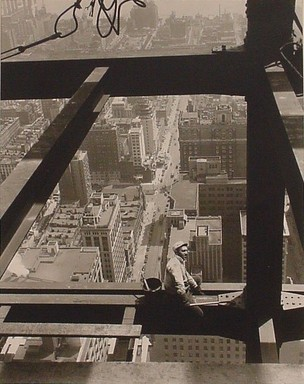 Lewis Wickes Hine (American, 1874-1940). <em>Man Astride Beam, Empire State Building</em>, 1930. Gelatin silver photograph, image: 19 1/4 x 15 1/4 in. (48.9 x 38.7 cm). Brooklyn Museum, Gift of Naomi and Walter Rosenblum, 1990.241.2 (Photo: Brooklyn Museum, CUR.1990.241.2.jpg)