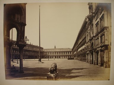 Carlo Ponti (Italian, born Switzerland, ca. 1823-1893). <em>Piazza de San Marco della Chiesa, Venice</em>, ca. 1865. Albumen silver photograph, 10 1/2 x 14in. (26.7 x 35.6cm). Brooklyn Museum, Gift of Alan Schlussel, 1990.242.6 (Photo: Brooklyn Museum, CUR.1990.242.6.jpg)