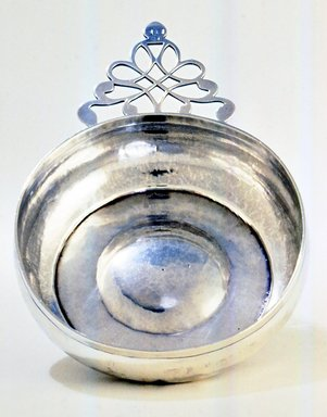 Unknown (American). <em>Porringer</em>, ca. 1760. Silver, 1 13/16 x 7 7/8 x 5 3/8 in. (4.6 x 20 x 13.7 cm). Brooklyn Museum, Gift of Wunsch Americana Foundation, Inc., 1990.36. Creative Commons-BY (Photo: Brooklyn Museum, CUR.1990.36.jpg)