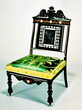 Charles Tisch (active 1870 -1890). <em>Side Chair</em>, ca. 1885. Rosewood, other woods, brass, old silk upholstery (not original to chair), 38 3/4 x 23 1/4 x 19 1/2 in. (98.4 x 59.1 x 49.5 cm). Brooklyn Museum, H. Randolph Lever Fund, 1990.39.4. Creative Commons-BY (Photo: Brooklyn Museum, CUR.1990.39.4.jpg)