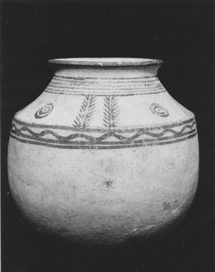 <em>Painted Jar</em>, ca. 2500-1700 B.C.E. Clay, slip, 6 7/16 x 6 3/4 in. (16.3 x 17.2 cm). Brooklyn Museum, Gift of Norma Kershaw, 1990.41. Creative Commons-BY (Photo: Brooklyn Museum, CUR.1990.41_NegB_print_bw.jpg)