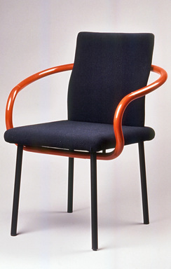 "Ettore Sottsass Jr. (Italian, born Austria, 1917-2007). <em>""Mandarin"" Armchair Prototype</em>, ca. 1986. Painted wood, polyurethane foam, woven cloth, rubber, painted steel, 33 x 25 x 23in. (83.8 x 63.5 x 58.4cm). Brooklyn Museum, Gift of Knoll International, 1990.86.5. Creative Commons-BY (Photo: Brooklyn Museum, CUR.1990.86.5_view1.jpg)"