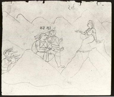 Indian. <em>Canda and Munda before Parvati</em>, ca. 1760. Ink on paper, sheet: 6 1/2 x 7 1/2 in. (16.4 x 19.0 cm). Brooklyn Museum, Anonymous gift, 1991.128.4 (Photo: Brooklyn Museum, CUR.1991.128.4_bw.jpg)