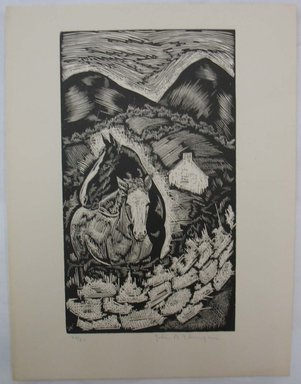 John B. Flannagan (American, 1895-1942). <em>Two Horses on the Farm</em>, n.d. Woodcut on wove paper, Image: 10 1/16 x 5 3/4 in. (25.5 x 14.6 cm). Brooklyn Museum, Gift of Gertrude W. Dennis, 1991.153.16 (Photo: Brooklyn Museum, CUR.1991.153.16.jpg)