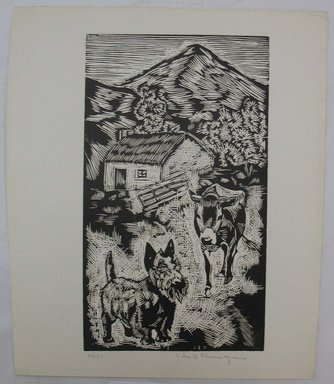 John B. Flannagan (American, 1895-1942). <em>Cow and Dog on the Farm</em>, n.d. Woodcut on wove paper, Image: 9 15/16 x 5 3/4 in. (25.3 x 14.6 cm). Brooklyn Museum, Gift of Gertrude W. Dennis, 1991.153.17 (Photo: Brooklyn Museum, CUR.1991.153.17.jpg)
