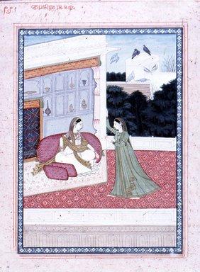 Indian. <em>Pragamyashyatiyaka</em>, ca. 1825. Opaque watercolor, gold, and silver on paper, sheet: 11 1/2 x 8 5/8 in.  (29.2 x 21.9 cm). Brooklyn Museum, Gift of Emily Manheim Goldman, 1991.180.12 (Photo: Brooklyn Museum, CUR.1991.180.12.jpg)