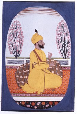 Indian. <em>Portrait of Raja Amur Singh of Patiala</em>, ca. 1830. Opaque watercolor and gold on paper, sheet: 10 11/16 x 7 9/16 in.  (27.1 x 19.2 cm). Brooklyn Museum, Gift of Emily Manheim Goldman, 1991.180.7 (Photo: Brooklyn Museum, CUR.1991.180.7.jpg)