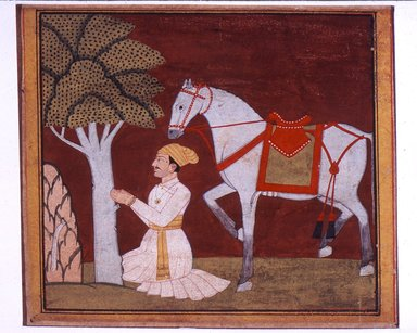 Attributed to Bhagvan. <em>Illustration from a Madhu-Malati Series</em>, ca. 1799. Opaque watercolor and gold on paper, sheet: 6 1/2 x 8 5/8 in.  (16.5 x 21.9 cm). Brooklyn Museum, Gift of Martha M. Green, 1991.181.6 (Photo: Brooklyn Museum, CUR.1991.181.6.jpg)