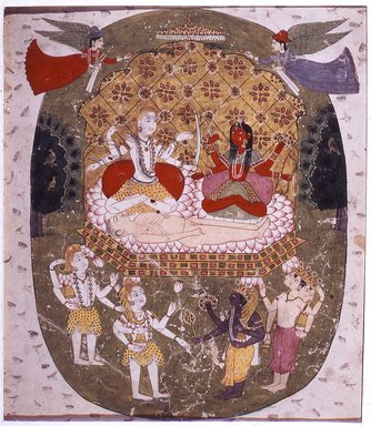 Indian. <em>Shiva and Parvati</em>, ca. 1820-1825. Opaque watercolor and gold on paper, sheet: 8 7/8 x 7 7/8 in.  (22.5 x 20.0 cm). Brooklyn Museum, Gift of Martha M. Green, 1991.181.8 (Photo: Brooklyn Museum, CUR.1991.181.8.jpg)