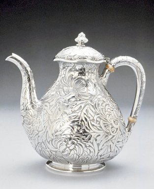 Gorham Manufacturing Company (1865-1961). <em>Teapot</em>, ca. 1894. Silver, 8 x 8 x 5 1/2 in. (20.3 x 20.3 x 14.0 cm). Brooklyn Museum, Bequest of DeLancey Thorn Grant in memory of her mother, Louise Floyd-Jones Thorn, by exchange, 1991.198. Creative Commons-BY (Photo: Brooklyn Museum, CUR.1991.198.jpg)