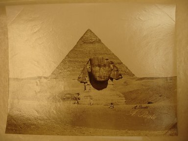 Antonio Beato (Italian and British, ca. 1825-ca.1903). <em>Sphinx et la Pyramide de Chephren</em>, n.d. Albumen silver photograph, 7 7/8 x 10 1/4 in. (20.0 x 26.0 cm). Brooklyn Museum, Gift of Virginia M. Zabriskie, 1991.310.2 (Photo: Brooklyn Museum, CUR.1991.310.2.jpg)