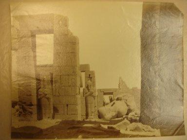 Antonio Beato (Italian and British, ca. 1825-ca.1903). <em>Ramesseum avec la Statue</em>, n.d. Albumen silver photograph, 8 x 10 3/16 in. (20.3 x 25.9 cm). Brooklyn Museum, Gift of Virginia M. Zabriskie, 1991.310.3 (Photo: Brooklyn Museum, CUR.1991.310.3.jpg)