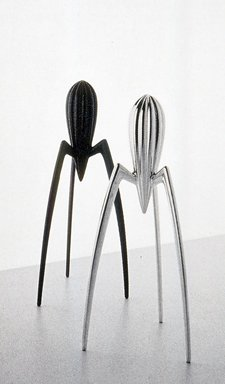 "Philippe Starck (French, born 1949). <em>""Juicy Salif"" Citrus Juicer</em>, designed 1988; manufactured ca. 1990. Cast aluminum and rubber, 11 3/4 x 5 x 4 in. (29.8 x 12.7 x 10.2 cm). Brooklyn Museum, Gift of Alessi S.p.A., 1991.33.3. Creative Commons-BY (Photo: Brooklyn Museum, CUR.1991.33.3.jpg)"