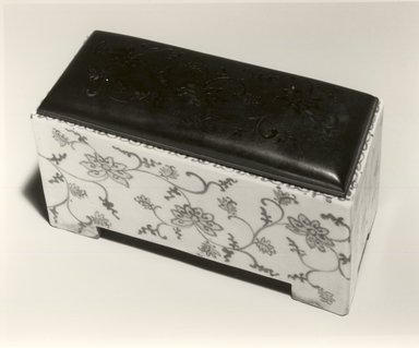 <em>Rectangular Incense Burner</em>, 19th century. Porcelain, blue underglaze, pierced metal cover, 3 3/4 x 7 7/8 x 3 1/2 in. Brooklyn Museum, Gift of Mrs. Nathan L. Burnett, 1991.75.2. Creative Commons-BY (Photo: Brooklyn Museum, CUR.1991.75.2_bw.jpg)