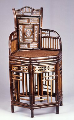 <em>Chair</em>, 19th century. Bamboo, other woods, and cane, 34 5/8 x 18 7/8 x 17 7/8 in.  (87.9 x 47.9 x 45.4 cm). Brooklyn Museum, Gift of Dr. and Mrs.  Gilbert H. Young, 1992.100. Creative Commons-BY (Photo: Brooklyn Museum, CUR.1992.100_view1.jpg)