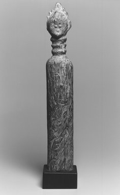 Vai. <em>Commemorative Post</em>, 19th century. Wood, metal, 20 x 3 1/2 in. (50.8 x 8.9 cm). Brooklyn Museum, Gift of Drs. Noble and Jean Endicott, 1992.136.3. Creative Commons-BY (Photo: Brooklyn Museum, CUR.1992.136.3_print_bw.jpg)