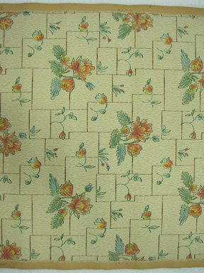 "<em>Wallpaper</em>, first half of 20th century. Printed paper, Width: 19 1/2"". Brooklyn Museum, Gift of Edwin Ward Bitter, Robert Bitter, Mark Bitter, and Therese Bitter Cook, 1992.153.52a-b (Photo: Brooklyn Museum, CUR.1992.153.52.jpg)"