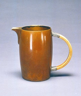 Gorham Manufacturing Company (1865-1961). <em>Pitcher</em>, ca. 1883. Copper, silver, and bone, 6 1/8 x 7 1/4 x 4 in.  (15.6 x 18.4 x 10.2 cm). Brooklyn Museum, Gift of Denis Gallion and Daniel Morris, 1992.165.3. Creative Commons-BY (Photo: Brooklyn Museum, CUR.1992.165.3.jpg)