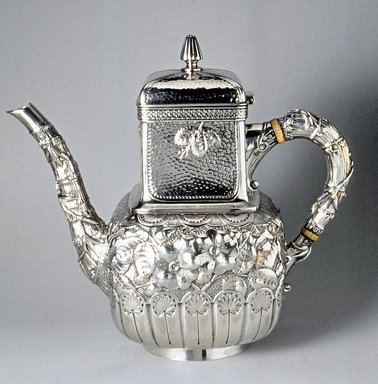 Gorham Manufacturing Company (1865-1961). <em>Coffeepot</em>, ca. 1883. Silver and Ivory, 8 1/2 x 9 1/2 x 4 3/4 in. (21.6 x 24.1 x 12.1 cm). Brooklyn Museum, H. Randolph Lever Fund, 1992.209. Creative Commons-BY (Photo: Brooklyn Museum, CUR.1992.209.jpg)