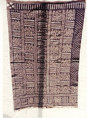 Bamana. <em>Mud-dyed Textile (Bogolan fini)</em>, late 19th-early 20th century. Cotton, natural dye, 63 1/2 × 39 in. (161.3 × 99.1 cm). Brooklyn Museum, Gift of the David and Margery Edwards Collection, 1992.67.6. Creative Commons-BY (Photo: Brooklyn Museum, CUR.1992.67.6_overall.jpg)