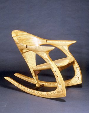 Michael Gilmartin (American, 1950-2016). <em>The Gilmartin Chair</em>, ca. 1992. Maine Fir plywood and Peruvian walnut, 32 x 27 x 40 in. (81.3 x 68.6 x 101.6 cm). Brooklyn Museum, Gift of Sanford L. Smith, 1992.96. Creative Commons-BY (Photo: Brooklyn Museum, CUR.1992.96.jpg)